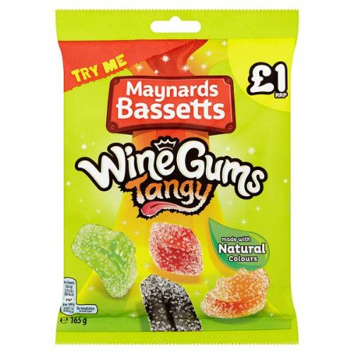 Maynards Bassetts Wine Gums Tangy £1 Sweets Bag 165g